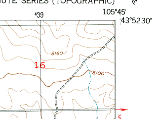 Reduced fragment of topographic map en--usgs--024k--040062--(1953)--N043-52-30_W105-52-30--N043-45-00_W105-45-00