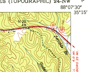 Reduced fragment of topographic map en--usgs--024k--040069--(1949)--N035-15-00_W088-15-00--N035-07-30_W088-07-30; towns and cities Savannah