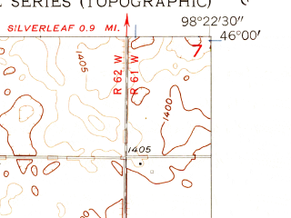 Reduced fragment of topographic map en--usgs--024k--040077--(1956)--N046-00-00_W098-30-00--N045-52-30_W098-22-30
