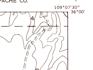 Reduced fragment of topographic map en--usgs--024k--040089--(1955)--N036-00-00_W109-15-00--N035-52-30_W109-07-30; towns and cities Sawmill