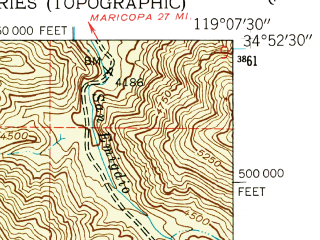 Reduced fragment of topographic map en--usgs--024k--040097--(1943)--N034-52-30_W119-15-00--N034-45-00_W119-07-30