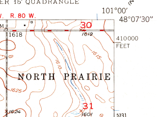 Reduced fragment of topographic map en--usgs--024k--040111--(1948)--N048-07-30_W101-07-30--N048-00-00_W101-00-00; towns and cities Sawyer