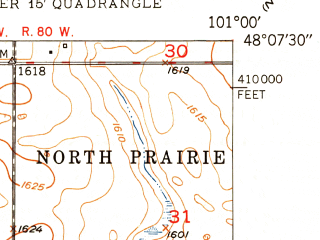 Reduced fragment of topographic map en--usgs--024k--040111--(1949)--N048-07-30_W101-07-30--N048-00-00_W101-00-00; towns and cities Sawyer