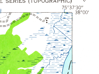 Reduced fragment of topographic map en--usgs--024k--040122--(1942)--N038-00-00_W075-45-00--N037-52-30_W075-37-30; towns and cities Saxis