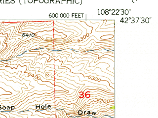 Reduced fragment of topographic map en--usgs--024k--040198--(1953)--N042-37-30_W108-30-00--N042-30-00_W108-22-30