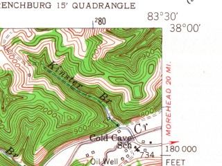 Reduced fragment of topographic map en--usgs--024k--040337--(1952)--N038-00-00_W083-37-30--N037-52-30_W083-30-00; towns and cities Frenchburg