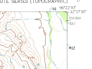 Reduced fragment of topographic map en--usgs--024k--040358--(1962)--N032-37-30_W096-30-00--N032-30-00_W096-22-30