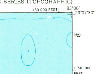 Reduced fragment of topographic map en--usgs--024k--040377--(1955)--N029-07-30_W083-07-30--N029-00-00_W083-00-00