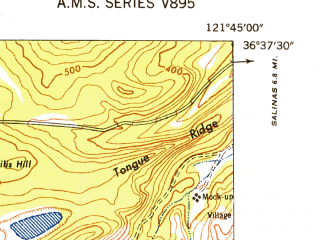 Reduced fragment of topographic map en--usgs--024k--040395--(1948)--N036-37-30_W121-52-30--N036-30-00_W121-45-00; towns and cities Seaside, Del Rey Oaks, Sand City