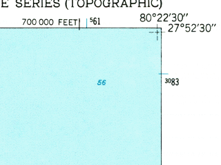 Reduced fragment of topographic map en--usgs--024k--040404--(1949)--N027-52-30_W080-30-00--N027-45-00_W080-22-30; towns and cities Sebastian, Orchid, Roseland, Wabasso