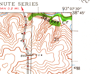 Reduced fragment of topographic map en--usgs--024k--040437--(1944)--N038-45-00_W093-15-00--N038-37-30_W093-07-30; towns and cities Sedalia