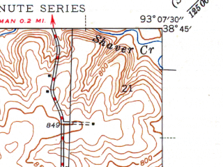 Reduced fragment of topographic map en--usgs--024k--040437--(1946)--N038-45-00_W093-15-00--N038-37-30_W093-07-30; towns and cities Sedalia