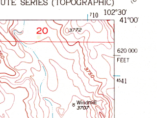 Reduced fragment of topographic map en--usgs--024k--040445--(1953)--N041-00-00_W102-37-30--N040-52-30_W102-30-00; towns and cities Sedgwick