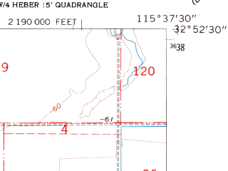 Reduced fragment of topographic map en--usgs--024k--040454--(1957)--N032-52-30_W115-45-00--N032-45-00_W115-37-30; towns and cities Seeley