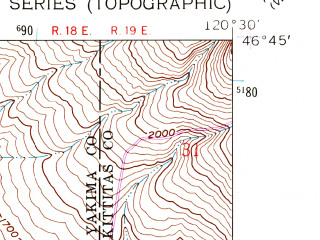 Reduced fragment of topographic map en--usgs--024k--040480--(1958)--N046-45-00_W120-37-30--N046-37-30_W120-30-00; towns and cities Selah