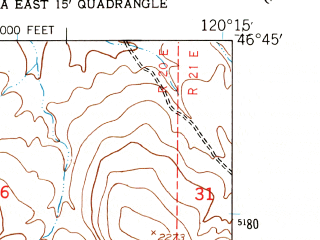 Reduced fragment of topographic map en--usgs--024k--040481--(1953)--N046-45-00_W120-22-30--N046-37-30_W120-15-00
