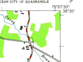Reduced fragment of topographic map en--usgs--024k--040484--(1943)--N038-30-00_W075-15-00--N038-22-30_W075-07-30; towns and cities Ocean Pines, Selbyville