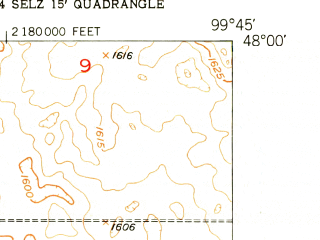 Reduced fragment of topographic map en--usgs--024k--040537--(1951)--N048-00-00_W099-52-30--N047-52-30_W099-45-00