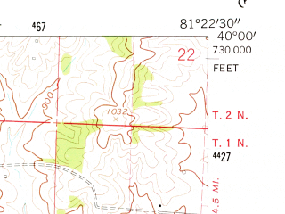 Reduced fragment of topographic map en--usgs--024k--040578--(1961)--N040-00-00_W081-30-00--N039-52-30_W081-22-30; towns and cities Lore City, Senecaville