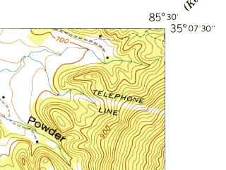 Reduced fragment of topographic map en--usgs--024k--040602--(1942)--N035-07-30_W085-37-30--N035-00-00_W085-30-00