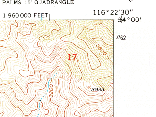 Reduced fragment of topographic map en--usgs--024k--040632--(1958)--N034-00-00_W116-30-00--N033-52-30_W116-22-30