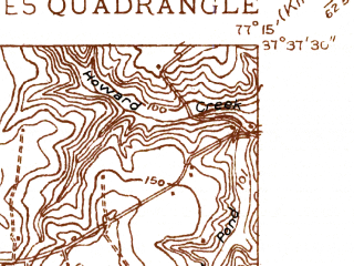 Reduced fragment of topographic map en--usgs--024k--040633--(1934)--N037-37-30_W077-22-30--N037-30-00_W077-15-00; towns and cities Highland Springs