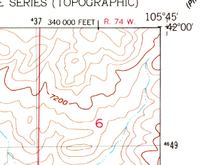 Reduced fragment of topographic map en--usgs--024k--040659--(1955)--N042-00-00_W105-52-30--N041-52-30_W105-45-00