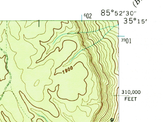 Reduced fragment of topographic map en--usgs--024k--040676--(1946)--N035-15-00_W086-00-00--N035-07-30_W085-52-30; towns and cities Sewanee