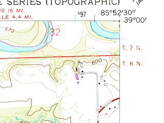 Reduced fragment of topographic map en--usgs--024k--040697--(1958)--N039-00-00_W086-00-00--N038-52-30_W085-52-30; towns and cities Seymour