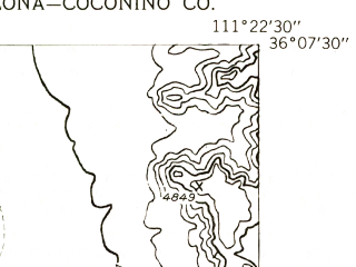 Reduced fragment of topographic map en--usgs--024k--040716--(1955)--N036-07-30_W111-30-00--N036-00-00_W111-22-30