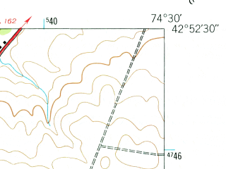 Reduced fragment of topographic map en--usgs--024k--040796--(1943)--N042-52-30_W074-37-30--N042-45-00_W074-30-00; towns and cities Ames, Sharon Springs