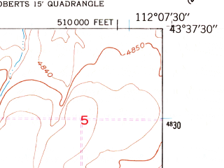 Reduced fragment of topographic map en--usgs--024k--040819--(1949)--N043-37-30_W112-15-00--N043-30-00_W112-07-30