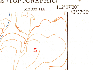 Reduced fragment of topographic map en--usgs--024k--040819--(1950)--N043-37-30_W112-15-00--N043-30-00_W112-07-30
