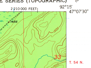 Reduced fragment of topographic map en--usgs--024k--040825--(1953)--N047-07-30_W092-22-30--N047-00-00_W092-15-00