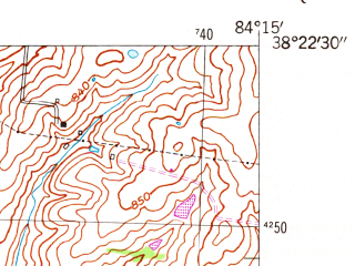 Reduced fragment of topographic map en--usgs--024k--040834--(1954)--N038-22-30_W084-22-30--N038-15-00_W084-15-00