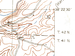 Reduced fragment of topographic map en--usgs--024k--040840--(1936)--N038-22-30_W093-30-00--N038-15-00_W093-22-30
