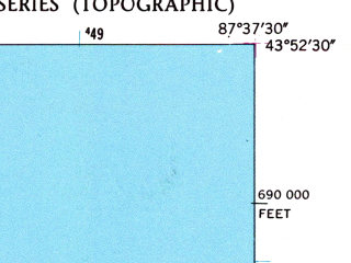 Reduced fragment of topographic map en--usgs--024k--040852--(1954)--N043-52-30_W087-45-00--N043-45-00_W087-37-30