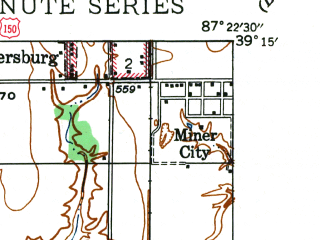 Reduced fragment of topographic map en--usgs--024k--040925--(1942)--N039-15-00_W087-30-00--N039-07-30_W087-22-30; towns and cities Shelburn