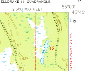 Reduced fragment of topographic map en--usgs--024k--040973--(1951)--N046-45-00_W085-07-30--N046-37-30_W085-00-00