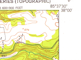 Reduced fragment of topographic map en--usgs--024k--041001--(1949)--N038-00-00_W085-45-00--N037-52-30_W085-37-30; towns and cities Shepherdsville