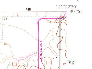 Reduced fragment of topographic map en--usgs--024k--041012--(1953)--N039-00-00_W121-30-00--N038-52-30_W121-22-30