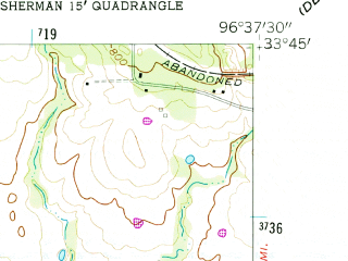 Reduced fragment of topographic map en--usgs--024k--041039--(1958)--N033-45-00_W096-45-00--N033-37-30_W096-37-30