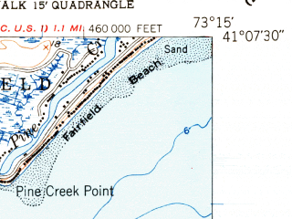 Reduced fragment of topographic map en--usgs--024k--041057--(1951)--N041-07-30_W073-22-30--N041-00-00_W073-15-00; towns and cities Westport