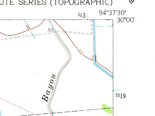 Reduced fragment of topographic map en--usgs--024k--041086--(1961)--N030-00-00_W094-45-00--N029-52-30_W094-37-30