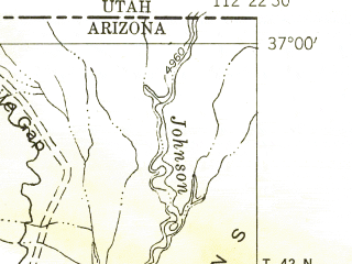 Reduced fragment of topographic map en--usgs--024k--041094--(1954)--N037-00-00_W112-30-00--N036-52-30_W112-22-30