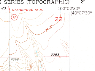Reduced fragment of topographic map en--usgs--024k--041124--(1957)--N040-07-30_W100-15-00--N040-00-00_W100-07-30