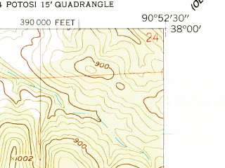 Reduced fragment of topographic map en--usgs--024k--041131--(1958)--N038-00-00_W091-00-00--N037-52-30_W090-52-30