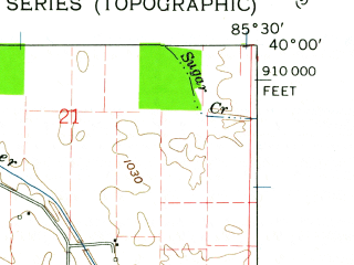 Reduced fragment of topographic map en--usgs--024k--041136--(1960)--N040-00-00_W085-37-30--N039-52-30_W085-30-00; towns and cities Shirley, Wilkinson, Kennard