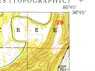 Reduced fragment of topographic map en--usgs--024k--041143--(1950)--N038-45-00_W086-52-30--N038-37-30_W086-45-00; towns and cities Shoals