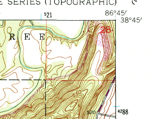Reduced fragment of topographic map en--usgs--024k--041143--(1960)--N038-45-00_W086-52-30--N038-37-30_W086-45-00; towns and cities Shoals